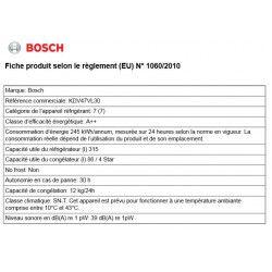 BOSCH KDV47VL30 - Réfrigérateur congélateur haut - 401L (315+86) - Froid brassé - A++ - L 70cm x H 191cm - Inox
