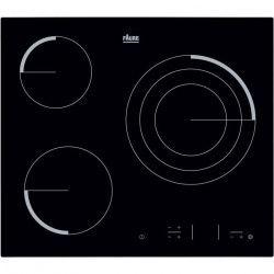 FAURE FEV6334FBA Table de cuisson vitrocéramique-3 zones-5700 W-L 59 x P 52cm-Revetement verre-Noir