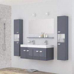 ALPOS Ensemble salle de bain double vasque avec miroir L 120 cm - Laqué gris brillant