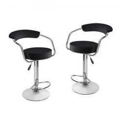 CHARLY Lot de 2 tabourets de bar - Simili noir - Contemporain - H 64 - 83 cm