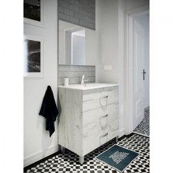 STELLA Ensemble salle de bain simple vasque avec miroir L 80 cm - Blanc effet bois