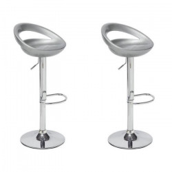 MOON Lot de 2 tabourets de bar - Gris - Style contemporain - L 41,2 x P 46 cm