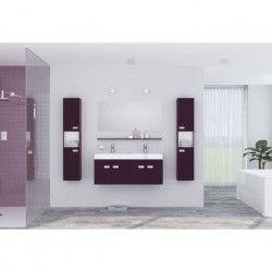 ALPOS Ensemble salle de bain double vasque avec miroir L 120 cm - Laqué aubergine brillant