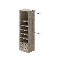COMBI Kit dressing 1 colonne + 2 barres de penderie contemporain décor chene clair - L 116 cm