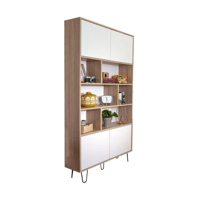 aero bibliotheque vintage d cor chene naturel et blanc. Black Bedroom Furniture Sets. Home Design Ideas