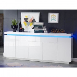 FLASH Buffet bas avec LED contemporain blanc laqué brillant - L 206 cm