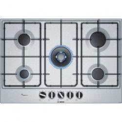 BOSCH PCQ7A5B80 Table de cuisson gaz - 5 brûleurs - 11,5 kW max - L 75 x P52cm - Revetement inox - Coloris inox