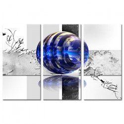 Tableau Déco Triptyque Design Boules et Oiseau - 120x80 cm