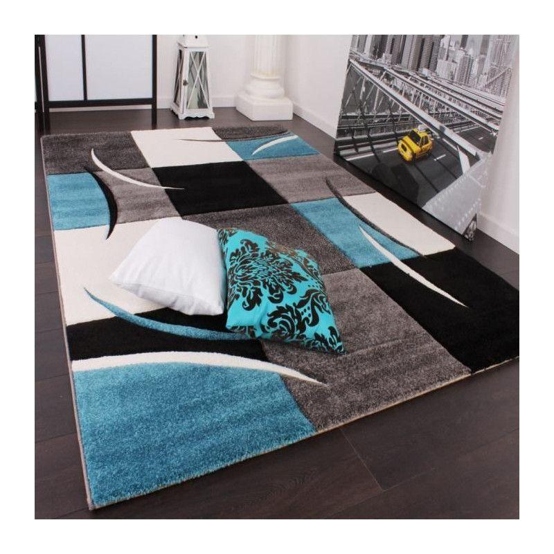 DIAMOND Tapis de salon - Bleu turquoise, gris et noir -