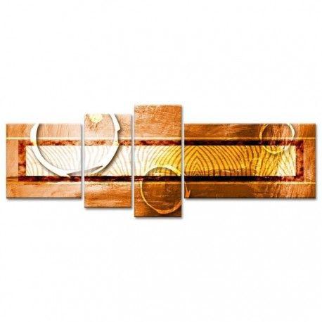 ethnik tableau multi panneaux 160x60 cm orange abstrait. Black Bedroom Furniture Sets. Home Design Ideas