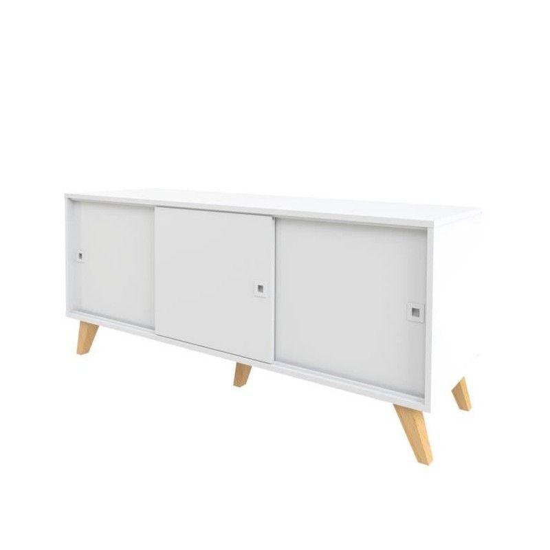 lumi buffet scandinave blanc pieds hetre massif verni. Black Bedroom Furniture Sets. Home Design Ideas