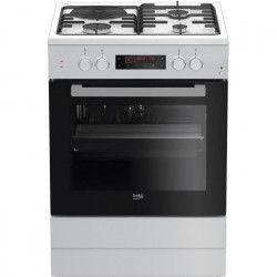 BEKO - FSE63410GWP - Cuisiniere Mixte - 4 foyers : 3 Gaz + 1 Electrique - Pyrolyse - A - 66 L - L60cm x H85cm -