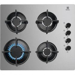 ELECTROLUX KGG6407M - Table de cuisson gaz - 4 foyers - L 59 x P 51 cm - 7800 W - Revetement verre - Silver