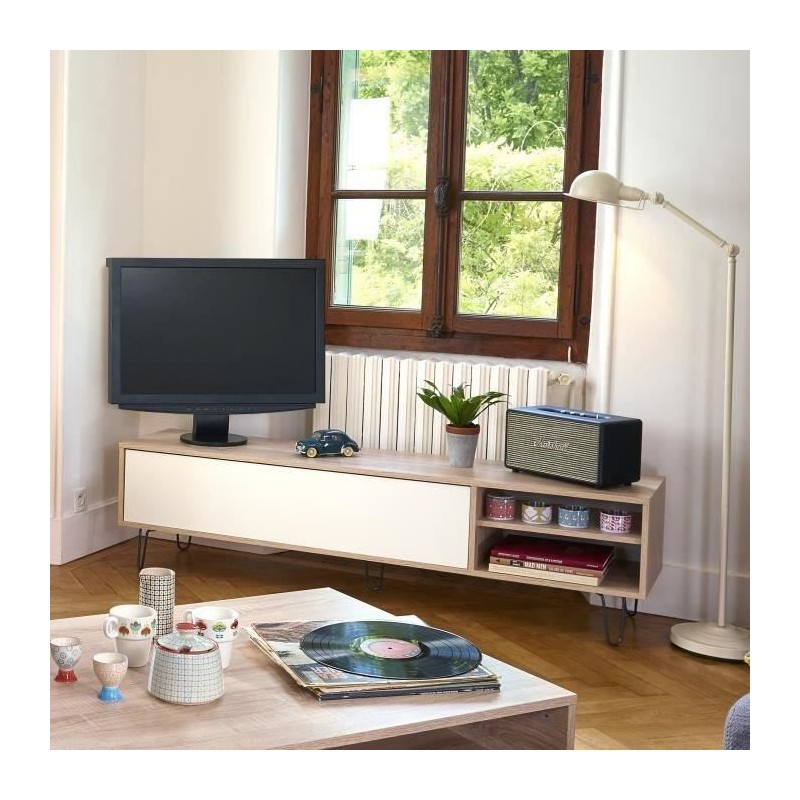 aero meuble tv vintage 165x40 cm d cor chene naturel et blanc. Black Bedroom Furniture Sets. Home Design Ideas