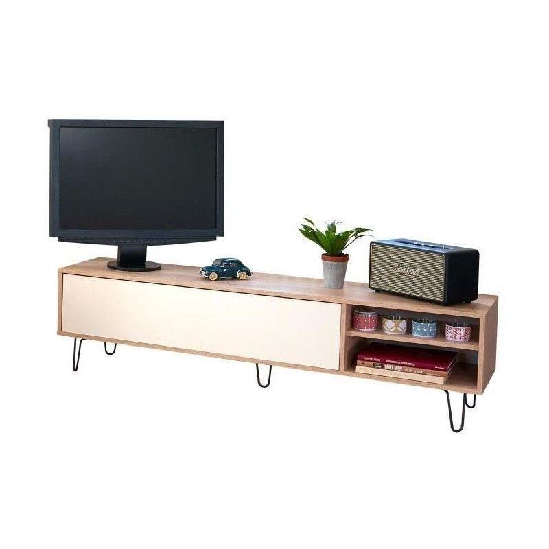 aero meuble tv vintage 165x40 cm d cor chene naturel et blanc. Black Bedroom Furniture Sets. Home Design Ideas
