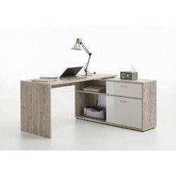 DIEGO Bureau d` angle contemporain décor chene sable et blanc brillant - L 138 cm