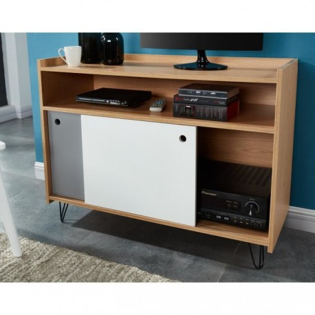 leontine meuble tv 100 cm d cor chene blanc et gris. Black Bedroom Furniture Sets. Home Design Ideas