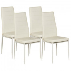 VOGUE Lot de 4 chaises de salle a manger - Simili blanc - Style contemporain - L 43,5 x P 52 cm