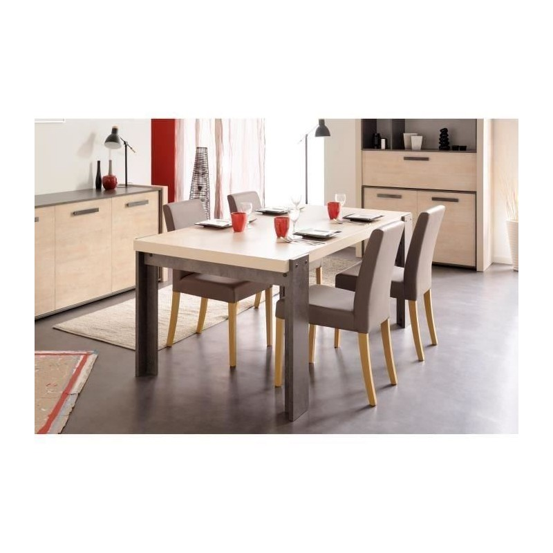 fox table a manger 6 personnes 180x94 cm d cor pin cendr et b to. Black Bedroom Furniture Sets. Home Design Ideas
