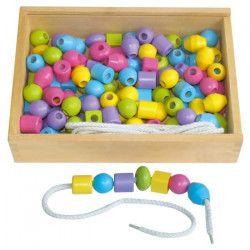 SAPIN MALIN Boîte de 125 Grosses Perles en Bois Pastel