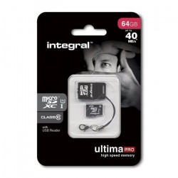 Integral UltimaPro Carte Mémoire Micro SDHC 64 Go + Lecteur de Carte