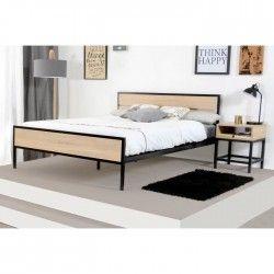 NAMUR Lit adulte industriel 160x200 cm - Décor bois