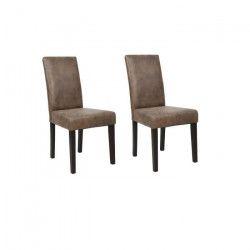 ALBUS Lot de 2 Chaises de salle a manger - Microfibre effet cuir vieilli - Contemporain - L 45 x P 57 cm
