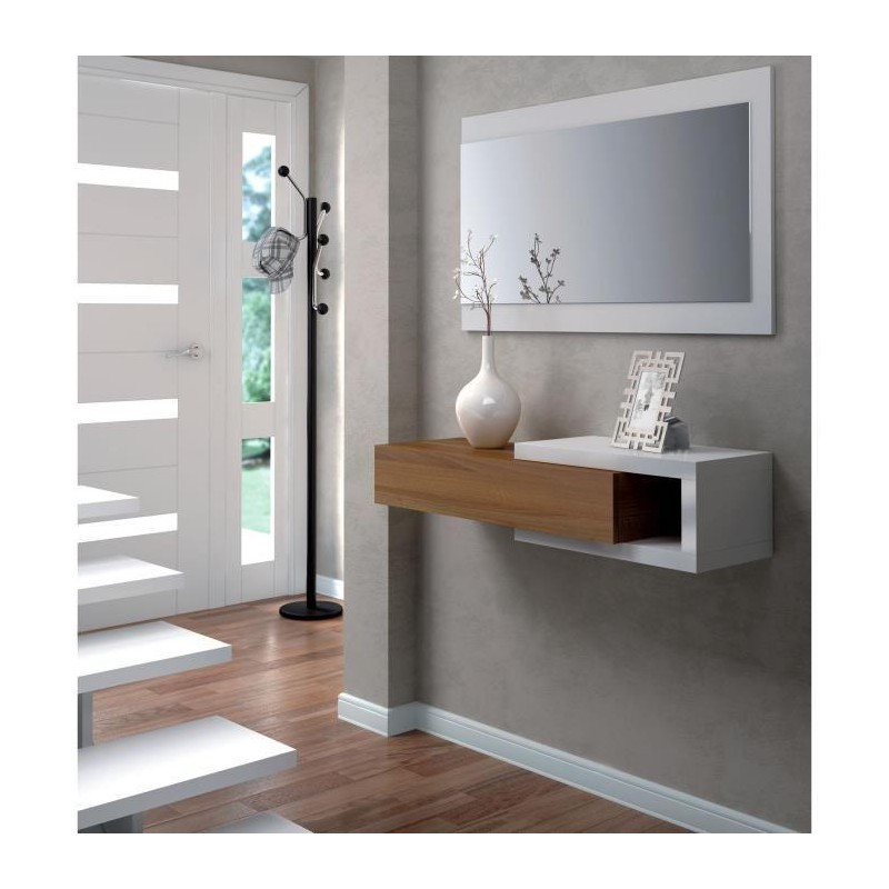 noon console d 39 entr e avec miroir blanc et noyer royalprice. Black Bedroom Furniture Sets. Home Design Ideas