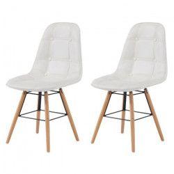 HEMA Lot de 2 chaises de salle a manger - Simili blanc et pieds en hetre massif - Scandinave - L 44 x P 53 cm