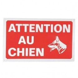 Plaque attention chien 33 x 20 cm rouge et blanc
