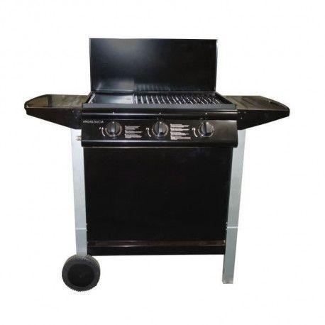 ANDALOUCIA Barbecue a gaz 3 brûleurs sur chariot Fonte