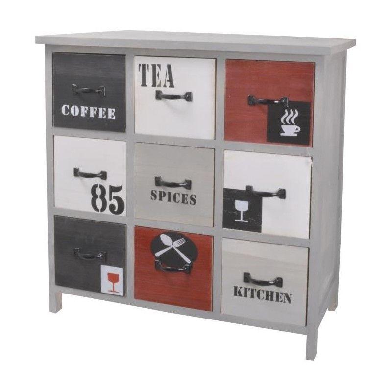 Factory meuble de rangement cuisine l 60 cm bois for Meuble cuisine blanc et noir