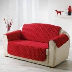 DOUCEUR d'INTERIEUR Protege fauteuil matelassé Club 165x179 cm rouge