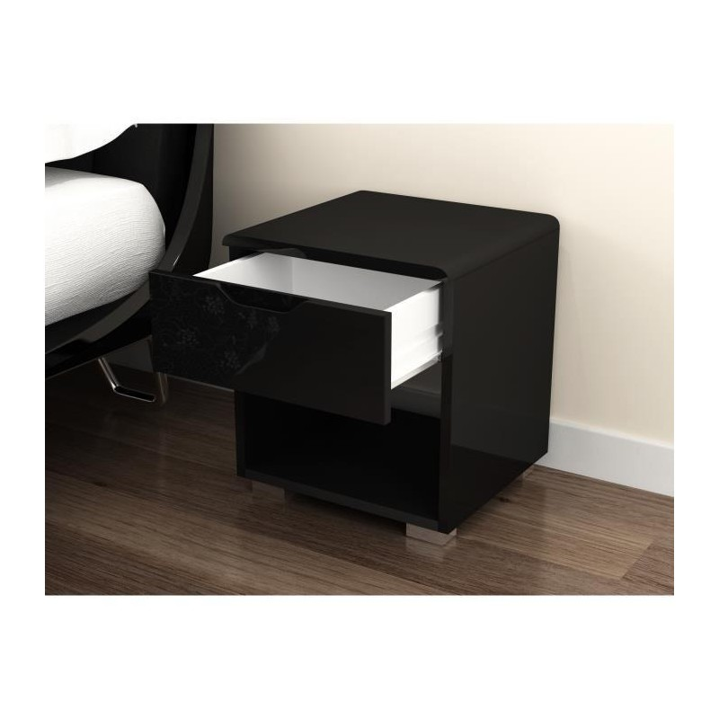 urbano chevet 35 cm laqu noir brillant. Black Bedroom Furniture Sets. Home Design Ideas