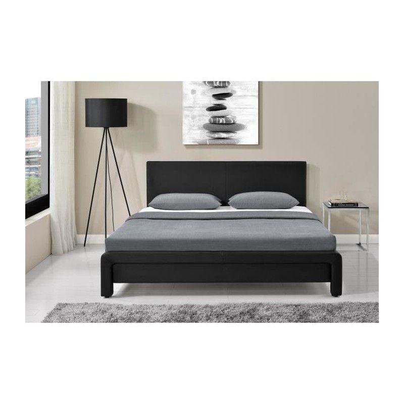 helsinki lit adulte sommier contemporain en m tal simili noir l 1. Black Bedroom Furniture Sets. Home Design Ideas