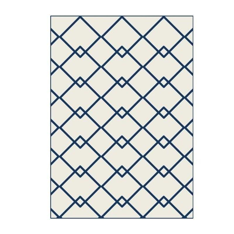 Tapis de salon Scandinave 120x160 cm beige et bleu