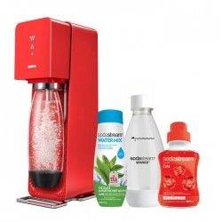 SODASTREAM - MÉGA PACK : Machine a soda Source rouge + 1 bouteille Fuse 0.5L + 1 Watermix Thé vert menthe + 1 concentré Cola 500