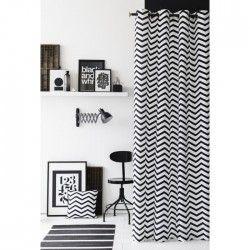 TODAY Rideau 100% coton Zig Zag 140x240 cm blanc et noir