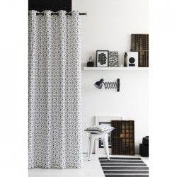 TODAY Rideau 100% coton 3D 140x240 cm blanc et noir