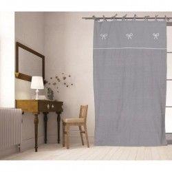 SOLEIL D'OCRE Rideau a nouettes brodé Emilie 100% coton 140x200 cm gris et blanc