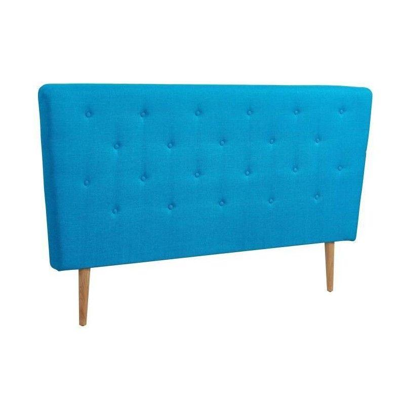 scandi tete de lit capitonn e scandinave tissu bleu. Black Bedroom Furniture Sets. Home Design Ideas