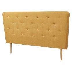 SCANDI Tete de lit capitonnée scandinave - Tissu jaune moutarde - L 160 cm