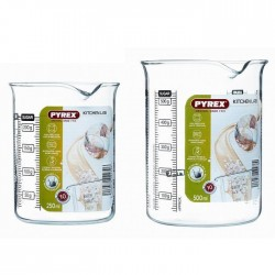 PYREX Set 1 doseur Kitchen Lab 0,50 l + 1 shaker 0,25 l transparent