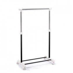 WEAR Portant simple noir 80x43x160 cm en chrome et plastique