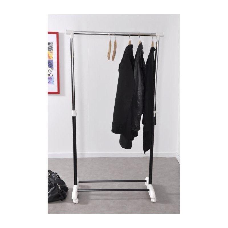 Wear portant simple noir 80x43x160 cm en chrome et plastique for Portant noir
