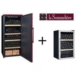 LA SOMMELIERE VIP265PCD-Cave a vin de vieillissement-265 bouteilles-A+ ET Cave a vin de service-40 bouteilles-B