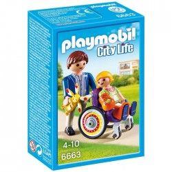 PLAYMOBIL 6663 Enfant avec fauteuil roulant et papa