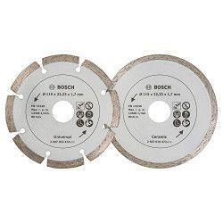 BOSCH 2 disques diamant 115mm matériaux + carr