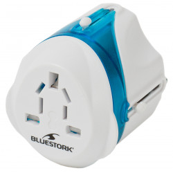 Bluestork BLU_TRAVELPLUG adaptateur prise d'alimentation Bleu, Blanc