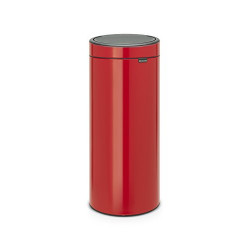 Brabantia Touch Bin, 30L Rond Plastique, Acier inoxydable Rouge